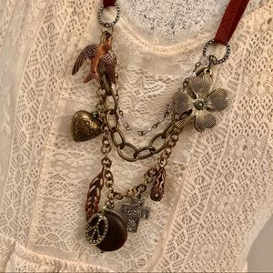 Jewelry - 🌿 Brown Leather Charm Necklace!